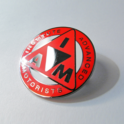 metal lapel badge red logo D31