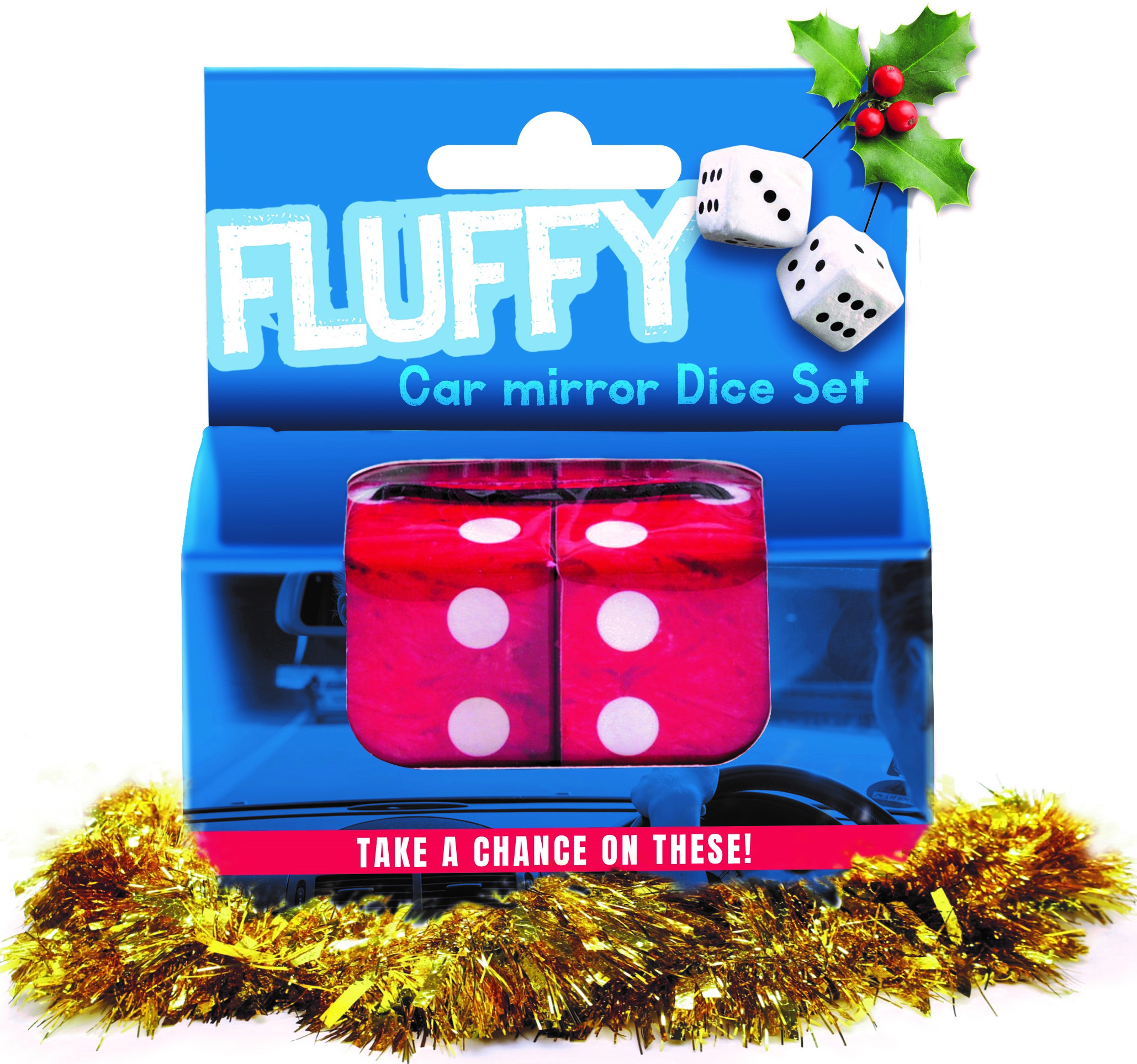 Fluffy dice Christmas gift voucher